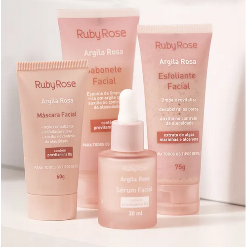 Kit Linha Facial Argila Rosa - Ruby Rose